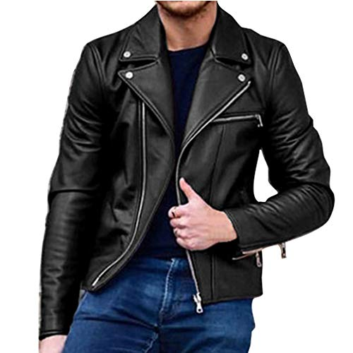 Men's Black Leather Biker Jackets Black Winter Red Slim Men Zipper Tops Long Pockets with Autumn Sleeve Outwear Purple Jacket Coats B Fit Casual Wine Fashion xv6HZ