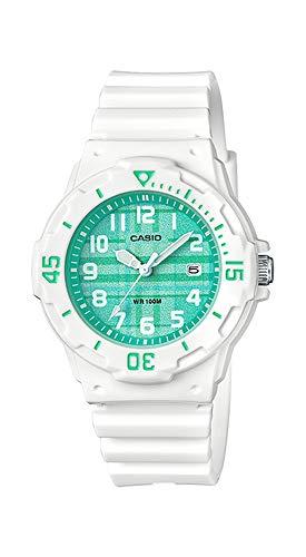 Casio LRW200H-3CV Women's White Resin Band Plaid Green Dial Day Date Watch (Green Casio Watch Women)