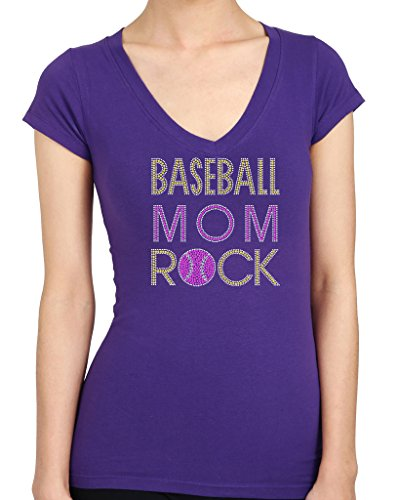 Baseball Mom Rocks Rhinestone/Stud Women's T shirt (Baseball Moms Rock)