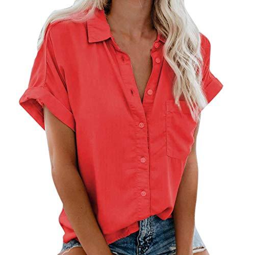 〓COOlCCI〓Women's Summer Half Sleeve Dip Hem Plain Pocket T-Shirt Blouse Crop Top Loose Front Button Shirts - Doll Beer Baby T-shirt