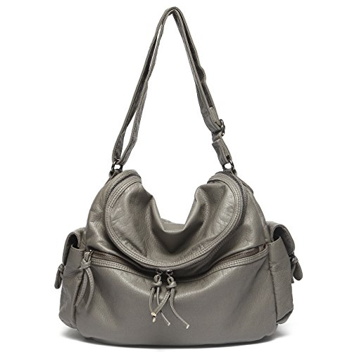 Mlife Soft Washed Leather Women Shoulder Bag Hobo Backpack (Grey-2)