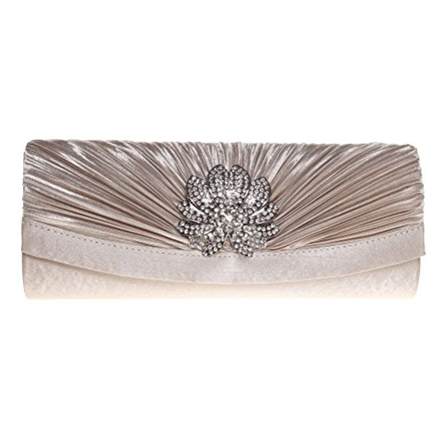 FASHIONROAD Evening Clutch, Womens 3D Floral Rhinestone Pleated Clutch Purses For Wedding & Party Apricot by Fashion road