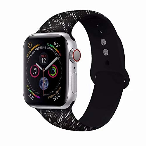 Compatible for Apple Watch Band 38mm & 40mm,Printing Pattern Soft Silicone Sport Strap Replacement for Apple Watch Series 4/Series 3/Series 2/Series 1 (Black, 42mm)