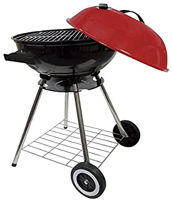 Round Kettle Charcoal Barbecue Grill 18 Inch Red Lid BBQ