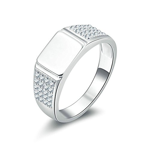 Aokarry Ladies Jewelry 925 Sterling Silver Rings Engagement Silver Signet Ring Round White Cubic Zirconia Size 9