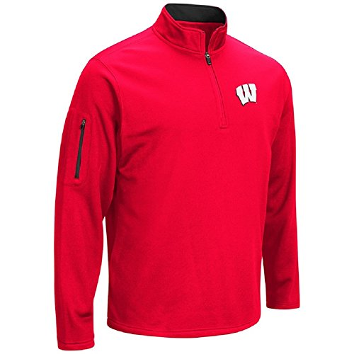 Colosseum Men's VF Poly Fleece 1/4 Zip Pullover-Wisconsin Badgers-Red-XL