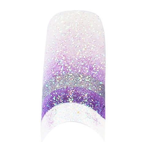 TOOGOO(R) 70 Pcs Colorful Sparkling False Nail Tips Glitter Colors Wide Acrylic Nail Art Tips(White purple - Tip White Color