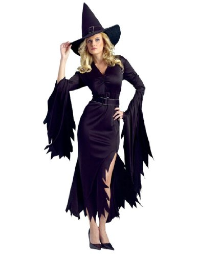 Adults Gothic Witch Costumes (FunWorld Gothic Witch Adult Costume, Black, Medium/Large)