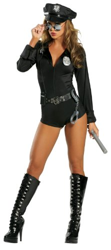 Roma Costume 7 Piece Lady Cop, Black, (Lady Cop Costumes)