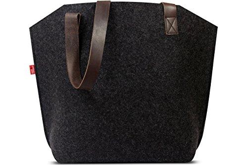 Pack & Smooch Tote Shopper Sac    Sac 100% laine de mérinos feutrée végétale tannée à la main en cuir en Allemagne Anthracite / Brun Foncé  york