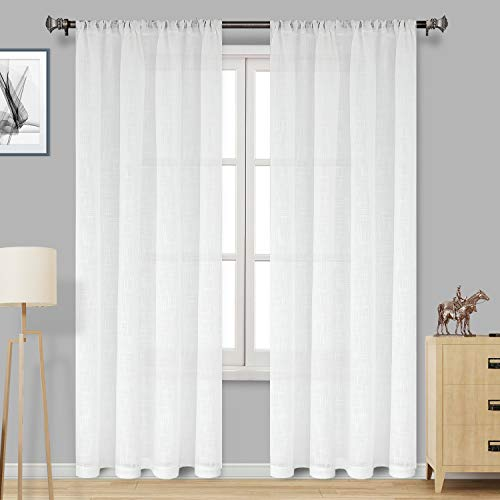 DWCN White Faux Linen Sheer Curtains - Rod Pocket Textured Semi Voile Bedroom and Living Room Window Curtains, Set of 2 Panels, 52 x 84 Inches Long (Curtains Linen Faux White)
