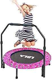 36-Inch Trampoline for Kids Mini Foldable Bungee Rebounder with Handrail and Safety Padded Cover Indoor/Outdoo