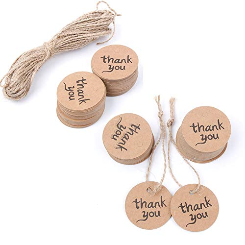 NUOMI Round Thank You Gift Tags with Jute Twine 100 Pieces Kraft Paper Labels Stickers for Christmas Presents Wrapping, Thanksgiving Craft, Baby Shower, Wedding Party or Father's/Mother's Day Favors