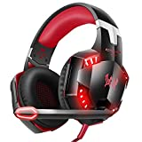VersionTech G2000 Gaming Headset for PS4, Professional Stereo Over Ear Headset With Noise Cancelling Mic, Led Lights & In-Line Volume Control For XBox One,Nintendo Switch PC Games -Orange