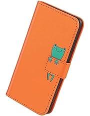 Herbests Kompatibel med iPhone X/iPhone XS mobilskal läder fodral för pojkar män söt tecknad 3D djur mönster läder skyddande fodral plånbok fodral fällbart fodral, groda orange
