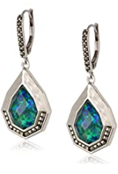 "Judith Jack ""Opulent"" Sterling Silver Marcasite Opal Green Drop Earrings"
