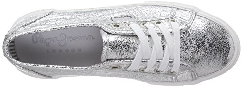 Pepe Jeans Dame Aberlady Metal Sneakers Silber (934silver) zqjE2Gme