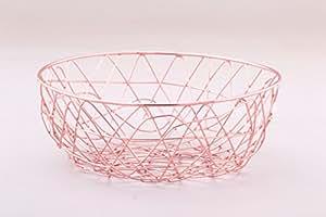 "Alchemade Copper Wire Storage Basket 11"" - Multi-Purpose Office Kitchen Organizer Holder Bin - Contemporary Industrial Style - Made by"