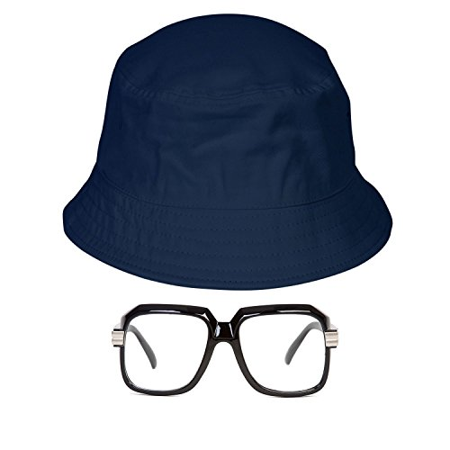 Gravity Trading 80s/90s Hip-Hop Costume Kit (Bucket Hat + Old School Squared Glasses) Navy L/XL