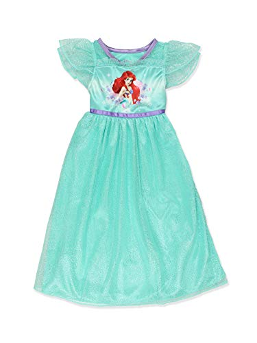The Little Mermaid Ariel Girls Fantasy Gown Nightgown Pajamas (4, Green) -