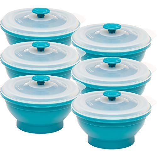 Collapse-it Silicone Food Storage Containers - BPA Free Airtight Silicone Lids, 6 Piece Set of 2-Cup Collapsible Lunch Box Containers - Oven, Microwave, Freezer ()