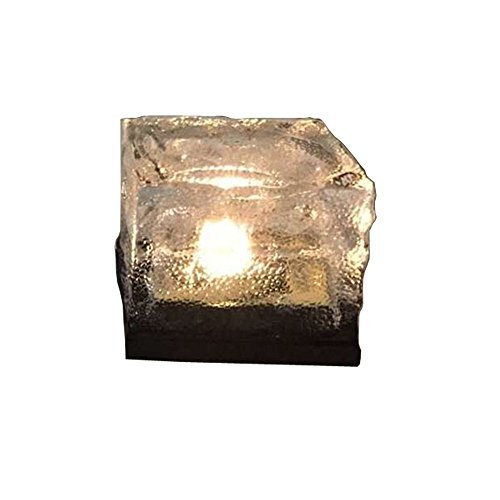 Solar Power Rock - WZYuan Solar Power Energy Clear Glass Ice Rock Brick Paver Light LED Garden Decorative Landscape Path Light (Warm White)