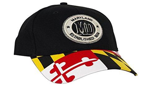 Maryland Flag Stamp Established 1634 Unisex Adjustable Hat (One size fits most)