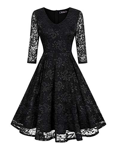 Lace V Neck Fit & Flare Midi Cocktail Dress for Women Party Wedding(M, Black)