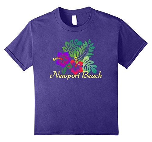 Beach Kids T-shirt (Kids Newport Beach Tropical T-Shirt Travel Surf Gift Tee Shirt 8 Purple)