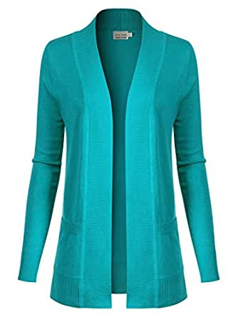 Design by Olivia Women's Open Front Long Sleeve Classic Knit Cardigan - Blue - 3X