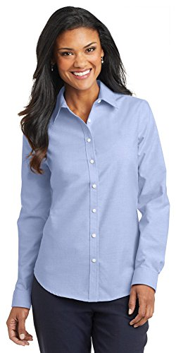 Port Authority Ladies SuperPro Oxford Shirt, Oxford Blue, X-Large