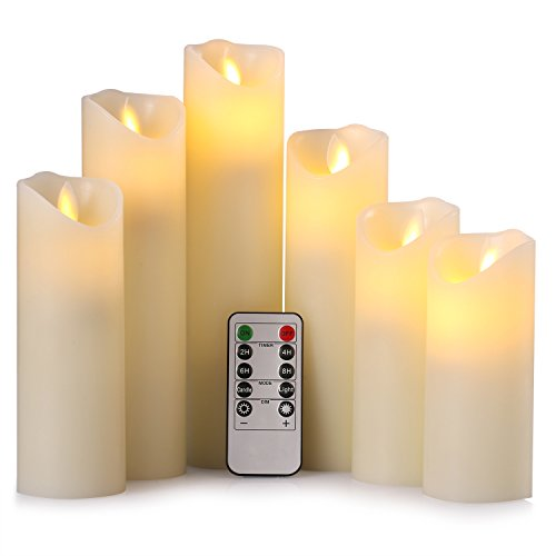 Ry-king Pillar Flickering Flameless LED Candles with 10-key Remote Timer