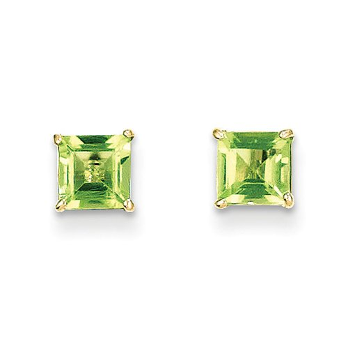 5mm Square Princess Peridot Stud Earrings in 14K - 14k Gold Peridot Earrings