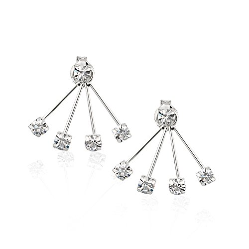 925 Sterling Silver Round Crystal Glass Front Back (4) Prong Ear Jacket Set of Earrings, 3mm (Contemporary Earring Jackets)