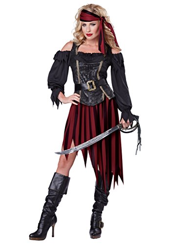 California Costumes Women's Queen Of The High Seas Sexy Pirate Swashbuckler Buccaneer, Black/Burgundy, (Adult Female Pirate Costume)