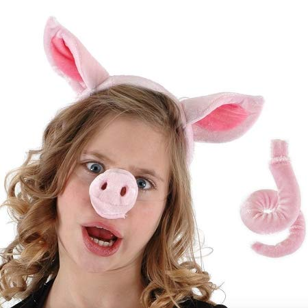 Wisdom Pig Ears, Nose and Tail Set Pig Costume Accessories -
