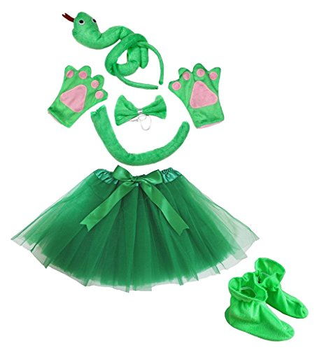 Petitebella 3D Headband Bowtie Tail Gloves Skirt Shoes 6pc Girl Costume (3D Green (Snake Tail Costume)