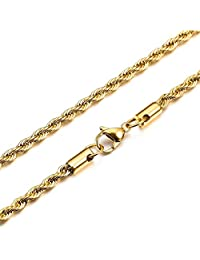 MOWOM Gold Tone 4.0mm Wide Stainless Steel Necklace Twisted Wheat Chain Link 18~36 Inch