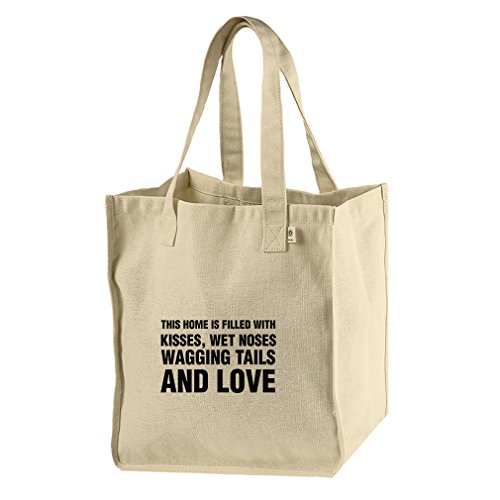 Kisses Wet Noses Wagging Tails & Love Hemp/Cotton Canvas Market Tote Bag Tote