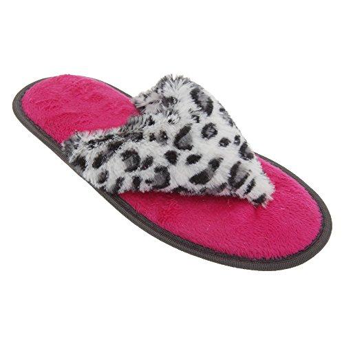 Chancletas de estar por casa con estampado animal para mujer Leopardo beige