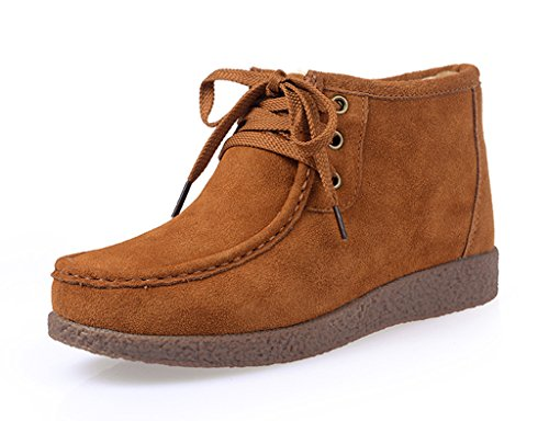 SUNROLAN ZMZ-666-qianzong-41 Beacon Women's Suede Winter Lace-Up Moccasin Chukka Faux Fur Lined Snow Boots Light Brown US (Moccasin Chukka Boots)