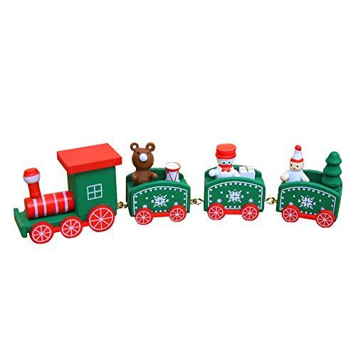 (X Hot Popcorn Cute Wooden Mini Train Ornaments, Xmas Train Kids Toys Gift, Christmas Party Kindergarten Decoration (Green B))