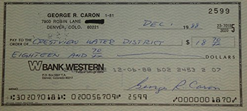 George R Caron Hand Signed Autographed Personal Check #2599