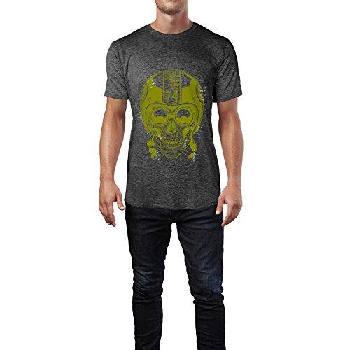 SINUS ART® Totenkopf mit Retrobrille und Helm Herren T-Shirts in dunkelgrau Fun Shirt mit tollen Aufdruck