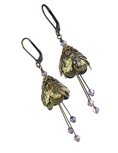 Fairy Flower Brass Leverback Dangle Earrings - Italian Courtesan