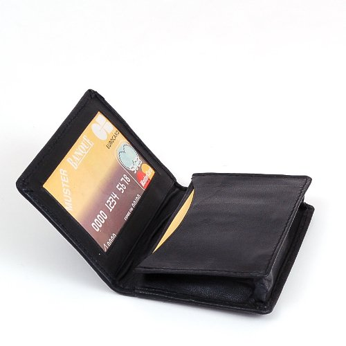 New 100% Leather Bi-fold Credit Card Holder Black #70, Office Central