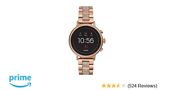 Fossil Womens Gen 4 Venture HR Heart Rate Stainless Steel Touchscreen Smartwatch, Color: Rose Gold (Model: FTW6011)