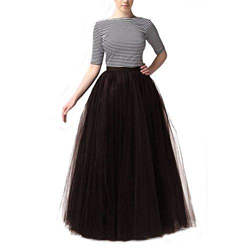 Women Elastic Waist 4 Layers Gauze Tulle Ball Gown OL Long Skirts Bridal Wedding Party Skirts Tutu Skirt Long Pettiskirts (Black)