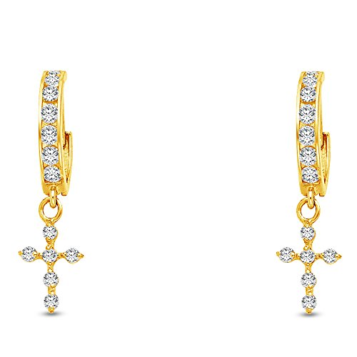 (Jewel Tie Solid 14K Yellow Gold Cubic Zirconia CZ Fancy Huggies Hoops Dangle Hanging Drop Cross Crucifix Earrings 7 X 30mm)