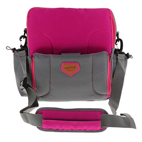 Prettyia 2 In1 Portable Mummy Messenger Bag Baby Diaper Storage Booster Seat Dinner Chair - Pink, 32x32x14.5cm